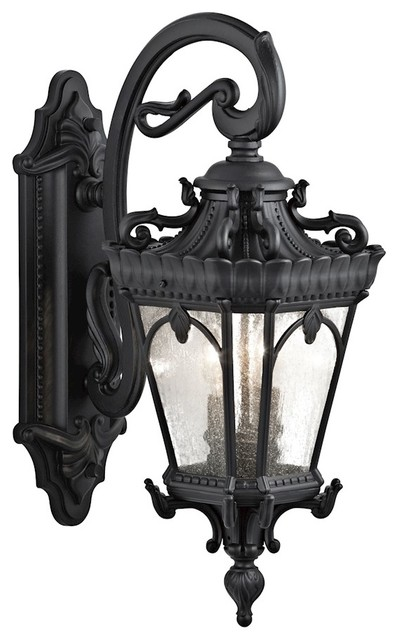 Tournai 2-Light Outdoor Wall Mount, Textured Black, Clear Seedy Glass
