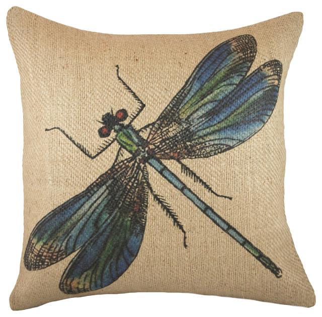 dragonfly burlap pillow
