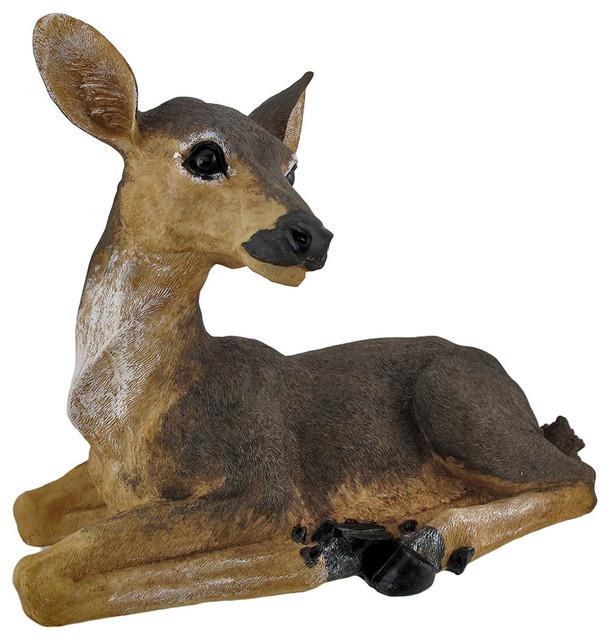 Lounging Doe Indoor/Outdoor Deer Statue Traditional Garden Statues And Yard