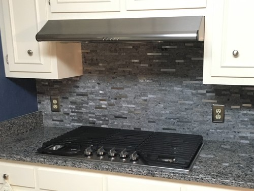 Picture Credit Sam Childs Via Houzz And Gcr Granite New Caledonia With White Cabinets Dark Color Matchstick Backsplash