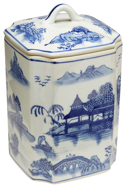 24abd658e8f2 Blue and White Square Jar With Lid - Asian - Decorative Jars And Urns - by Orchard  Creek Designs
