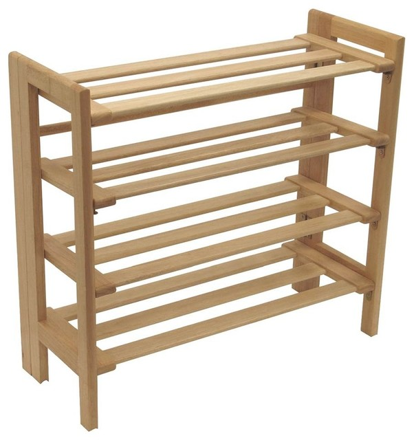 Four-Level Stackable Shoe Rack With Beech Wood Frame.