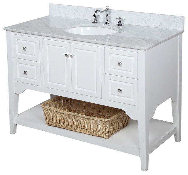 Bathroom Vanities With Sinks Included. Washington Bath Vanity Base White 48 Top Carrara Marble