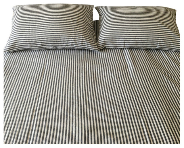 Dark Navy And White Striped Bed Sheet Set Handmade Natural Linen