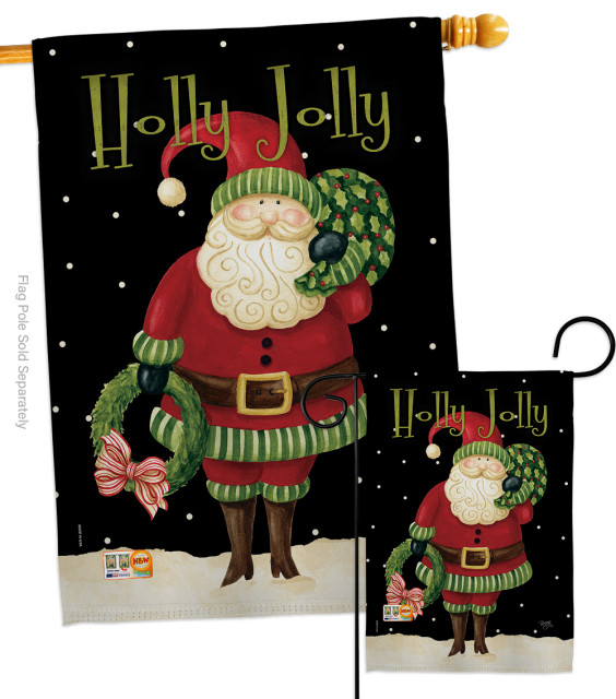 Holly Jolly Santa Winter Christmas Flags Set Modern Flags And Flagpoles By Breeze Decor