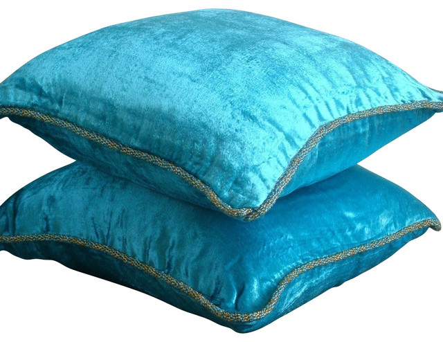solid color blue velvet 14x14 decorative pillow covers turquoise shimmer contemporary - Turquoise Decorative Pillows