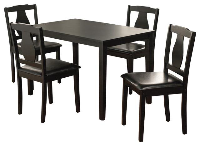 Kaylee 5 Piece Dining Set, Black.