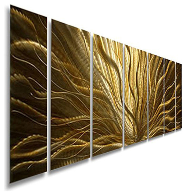 Stunning Modern Gold Multi Panel Metal Wall Art, Champagne Plumage, 68 Part 92