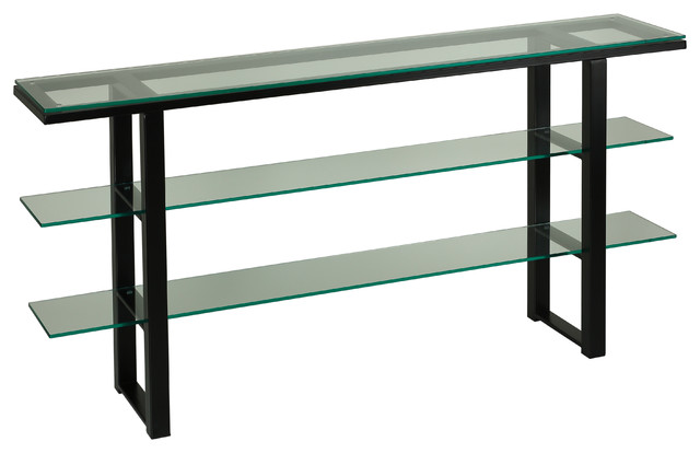 Cortesi Home Rozo Contemporary Three Tier Glass Console Table With Black Frame.