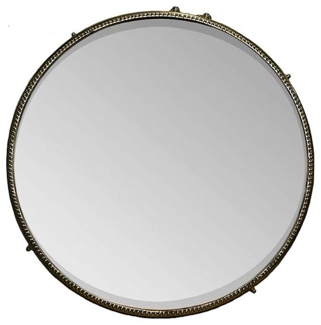 Decorative Iron Framed Round Mirror, Bronze.