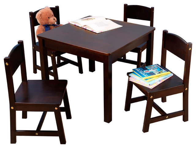 Farmhouse Table and 4 Chair Set Espresso Transitional Kids Tables And C