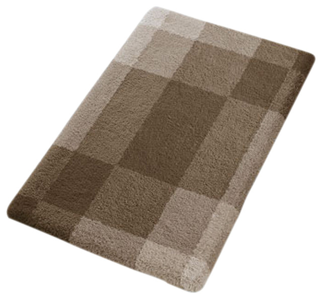 Taupe Modern Non Slip Washable Bathroom Rug Mix Contemporary