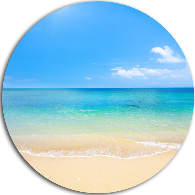 "Blue Waters Below Blue Sky, Seashore Photo Disc Metal Artwork, 11"". -1"