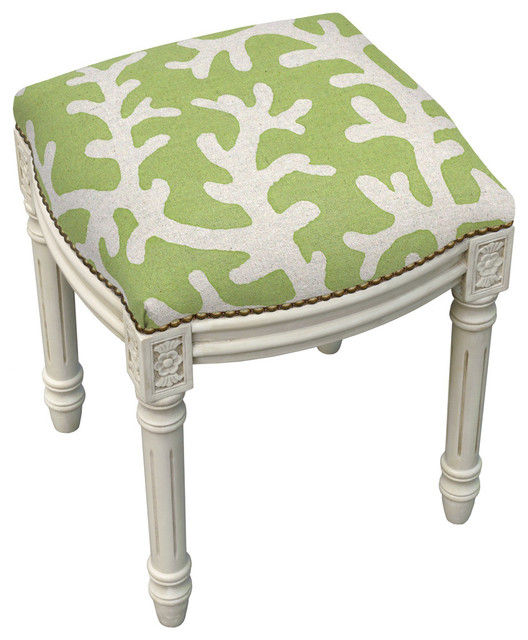 Chartreuse Coral Linen Upholstered Vanity Stool With  : beach style vanity stools and benches from www.houzz.com size 528 x 640 jpeg 73kB