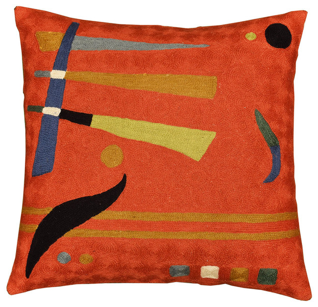 """Kandinsky Deep Orange Red Hand Embroidered Pillow Cover Wool, 18""""x18""""."""