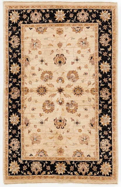Black And Tan Area Rugs hand knotted traditional chobi ziegler area rug black and tan 4x6