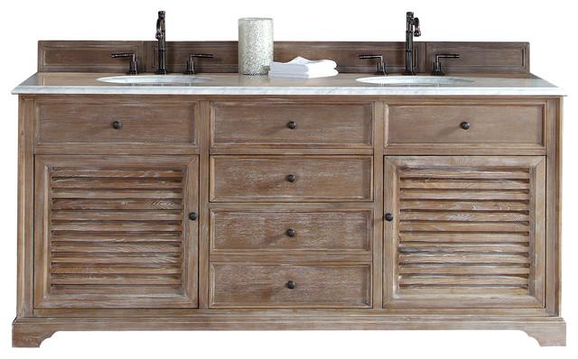 Savannah 72 Driftwood Double Vanity With Carrera Beach Style Bathroom Vanities And Sink