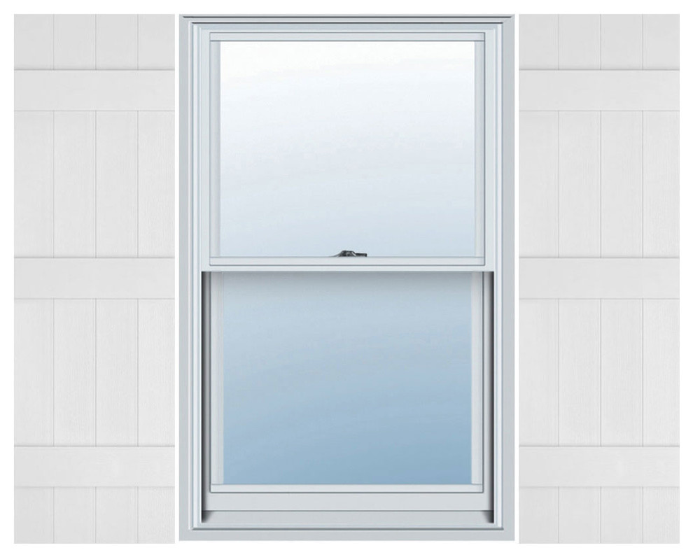 14 x 77 030 Paintable 1 Pair Mid-America Board-N-Batten 14 4 Board Joined with Arch Top Vinyl Standard Shutter