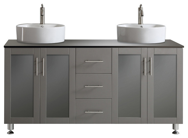Tuscany 60 Double Vanity With White Vessel Sink Gray