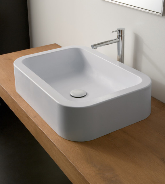 deep bathroom sinks modern rectangular ceramic vessel sink by scarabeo 12652