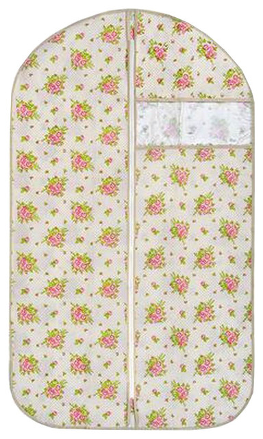 Set Of 3 Clothes Storage Garment Suit Cover Dust Proof Bags Floral.