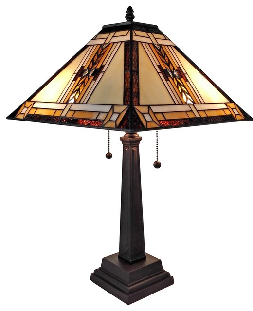 Amora Lighting Tiffany Style Mission Design Table Lamp 22 In.