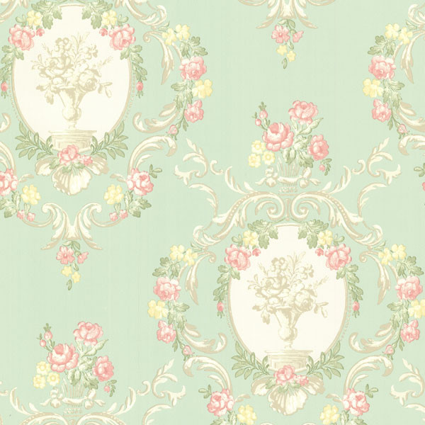 Maybelle Mint Cameo Damask Wallpaper Bolt
