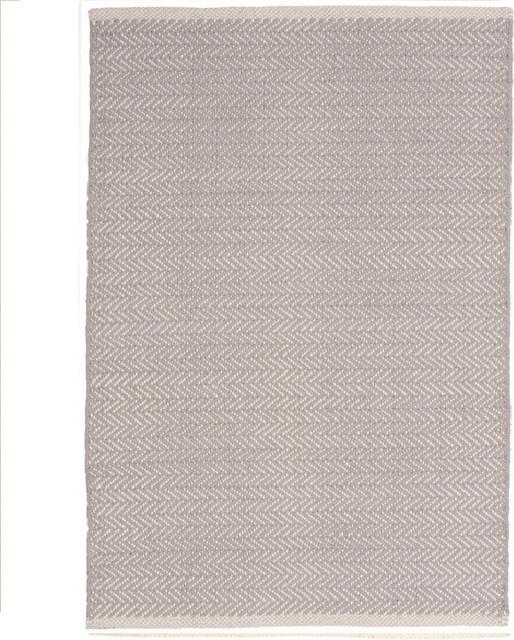 Gypsy Stripe Turquoise Grey Woven Cotton Rug: Herringbone Dove Gray Woven Cotton Rug