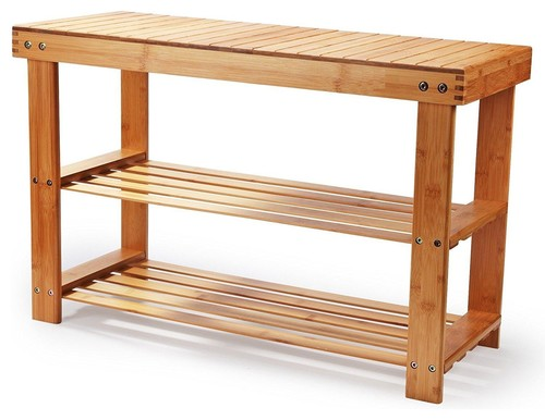 Modern Entryway Bench, Natural Bamboo Wood, 2 Open Shelves, Shoe Rack