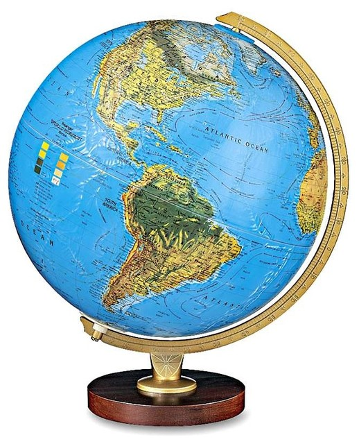 Traditional Globe With Die Cast Semi-Meridian and Raised Relief