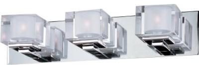 Maxim Cubic Three Light Polished Chrome Clear Glass Vanity