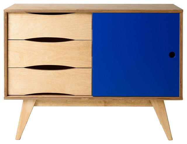 SoSixties Sideboard, Oak and Dark Blue, Small