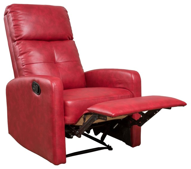 Exceptionnel Teyana Red Leather Recliner Club Chair