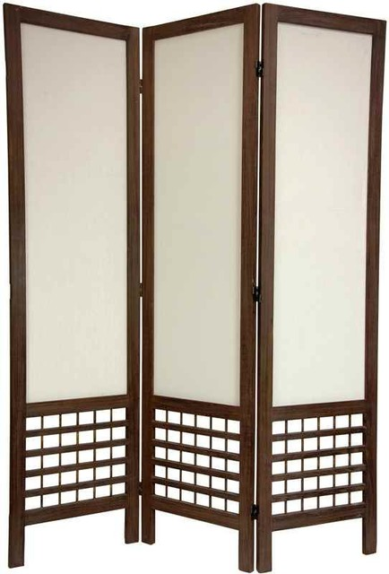 Open lattice fabric room divider 3 panels burnt brown for Lattice room divider