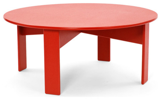 Lollygagger coffee table round contemporary outdoor for Red modern coffee table