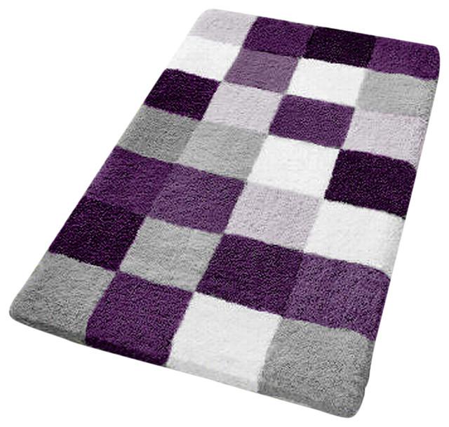 Checkered Bath Rug: Purple Checker Pattern Rich Multi Color Plush Bathroom Rug