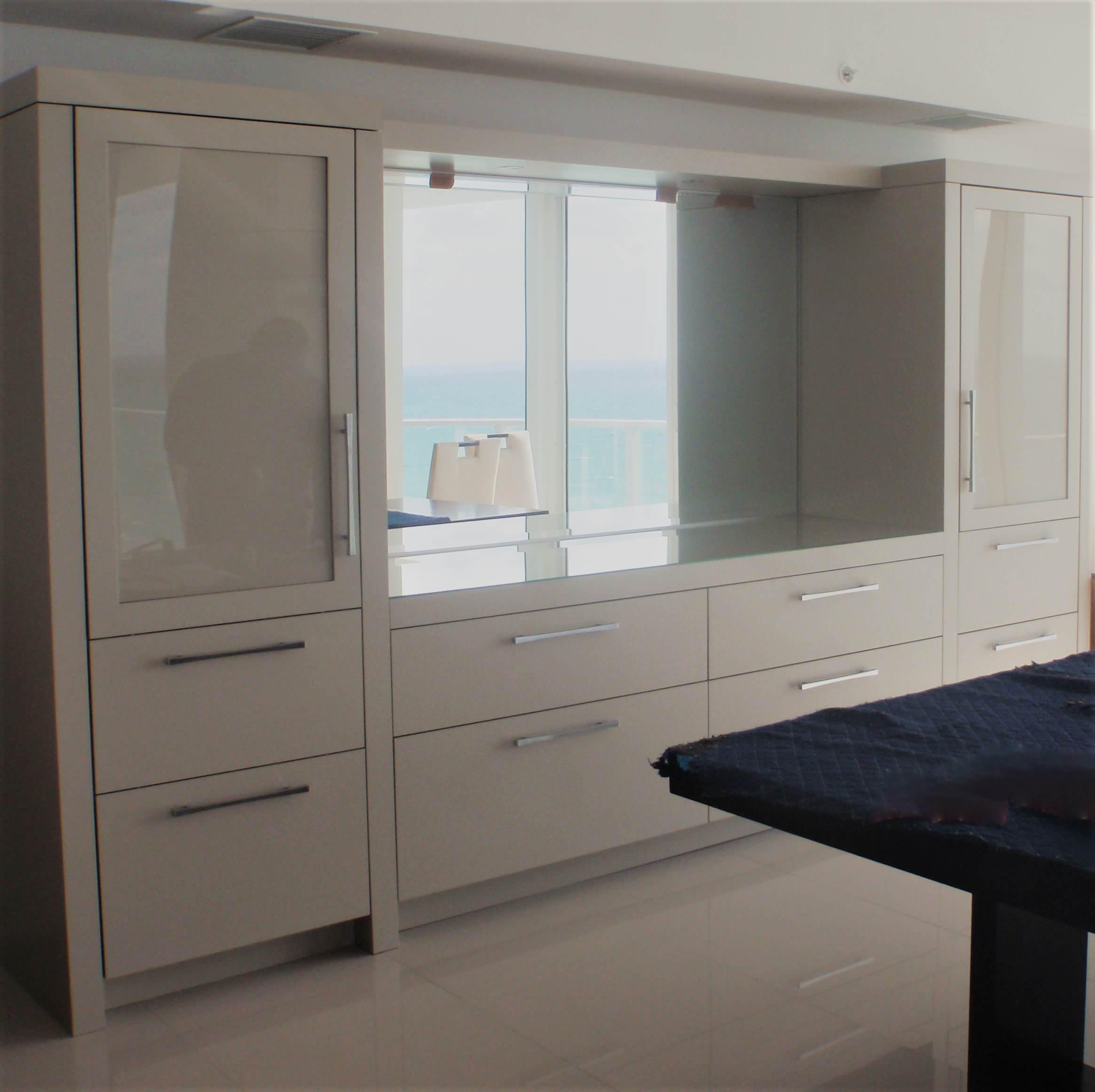 modern dining room console with hidden wine fridge