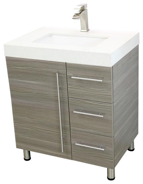 Clement Vanity Gray White Quartz With Undermount Sink 30