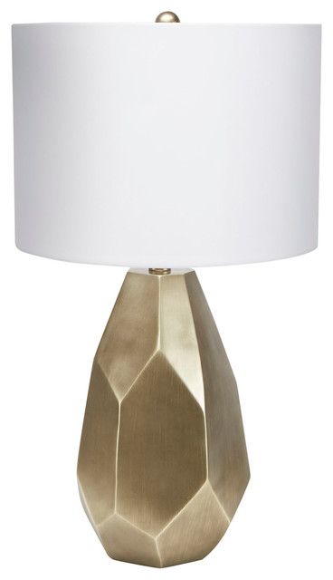 Diana Faceted Table Lamp With Shade, Antique Brass.