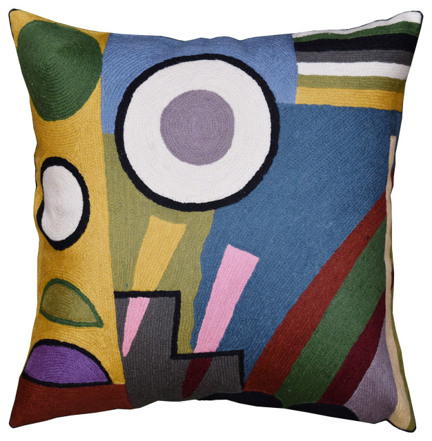 Kandinsky Pillow Cover Composition Vi Blue Gray Gold Handembroidered Wool 18x18 Contemporary Decorative Pillows By Kashmir Fine Arts Crafts Houzz