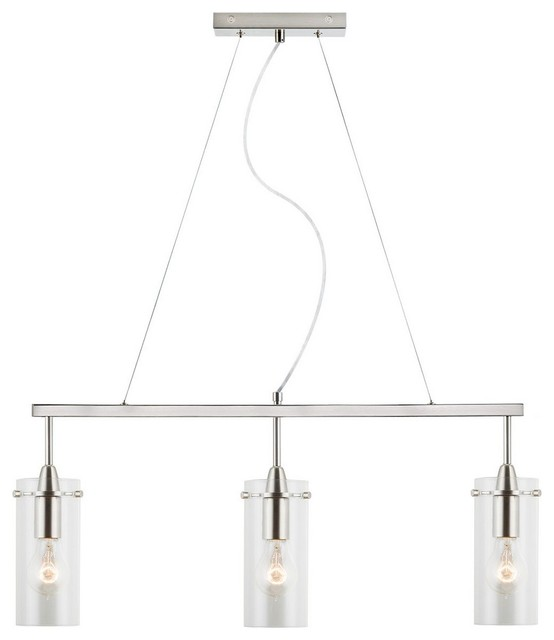 effimero 3 light hanging island light pendant with clear glass cylinder small contemporary - Hanging Kitchen Island Lights