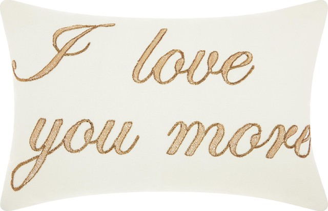 "14""x20"" Mina Victory Luminecence ""i Love You More"" Throw Pillow, White."