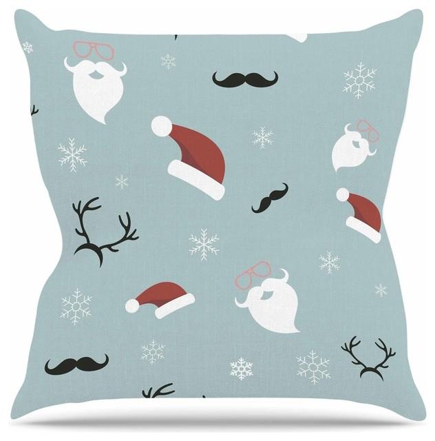 "Louise ""Happy New Year!"" Christmas Teal Santa Throw Pillow, 26""x26"""