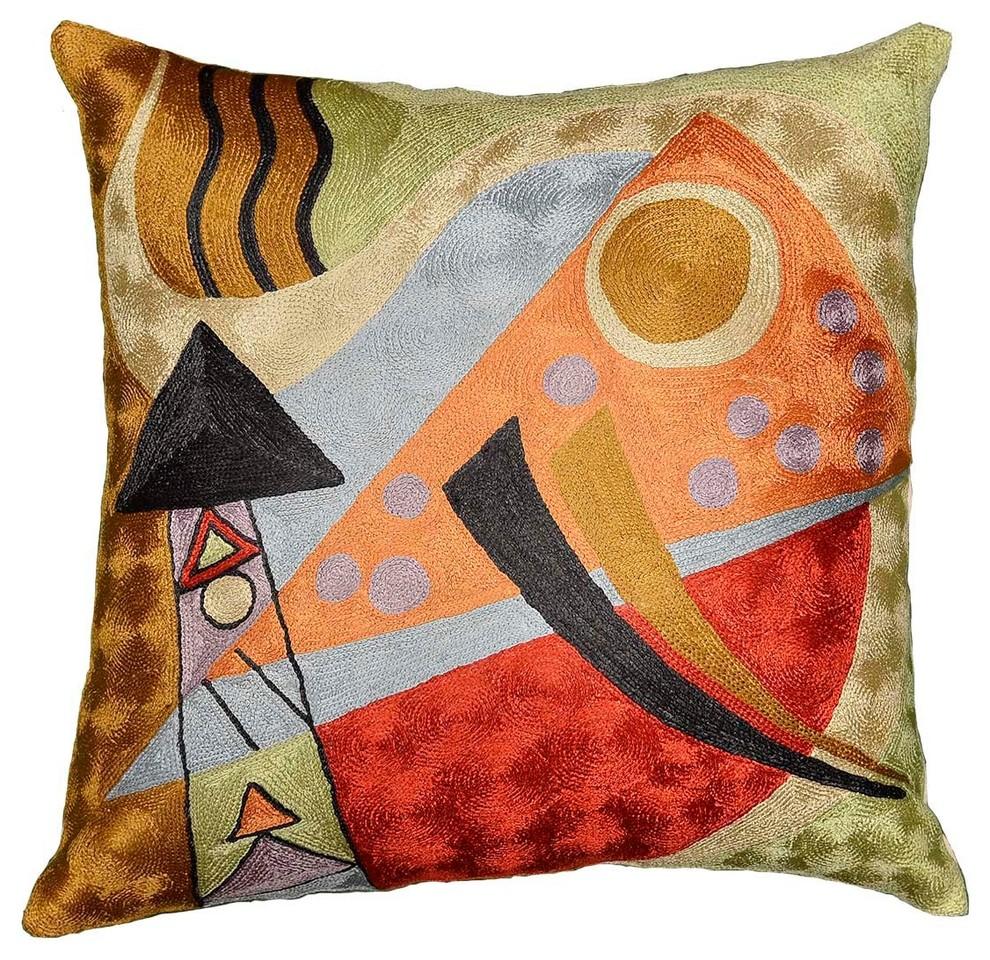 """Kandinsky Abstract Composition II Toss Pillow Cover Orange Navy Art Silk 18/""""x18/"""""""
