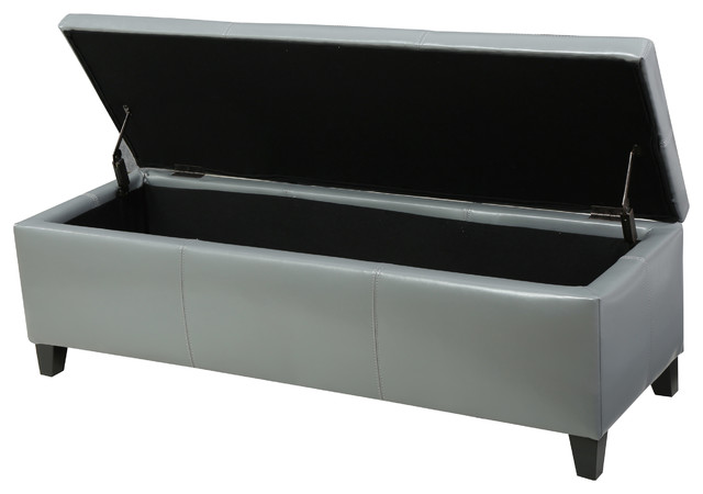 Skyler Leather Storage Ottoman Bench, Gray contemporary-footstools-and- ottomans - GDFStudio Skyler Beige Fabric Storage Ottoman Bench - Footstools