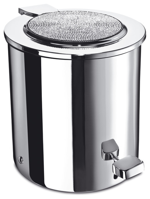 Shop houzz w luxury starlight round bathroom pedal for Bathroom wastebasket with lid
