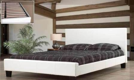 Sch White Leather Double Bed Frame Modernbeds