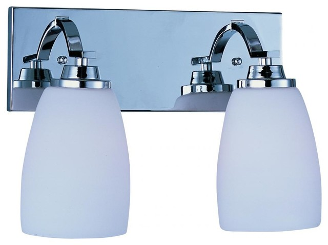 Hampton Bay 2 Light Chrome Bath Light 05659: Two Light Polished Chrome Satin White Glass Vanity