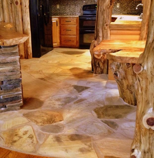 Cedar Log Kitchen Flagstone Floor After Rustic Atlanta