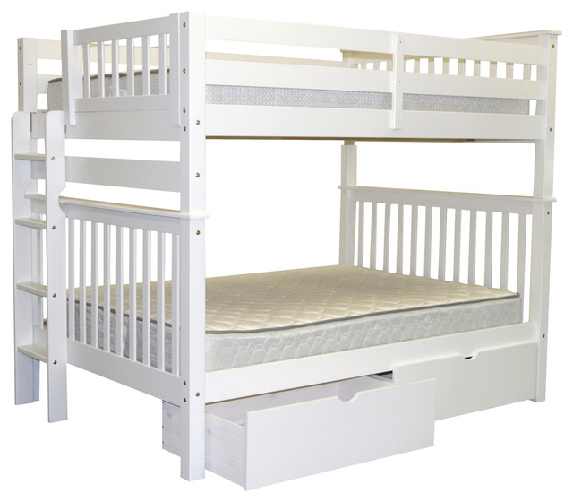 Bunk Beds Full Over Full End Ladder White Drawers Transitional Bunk Bed